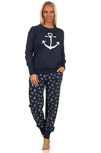Damen Schlafanzug Pyjama mit Bündchen in maritimer Optik mit Anker als Motiv -212 90 910, Farbe:Marine, Größe:40-42