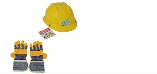 Simba Bauarbeiter Set Bauhelm und Handschuhe Kinder Spielzeug Helm ab 3 Jahren
