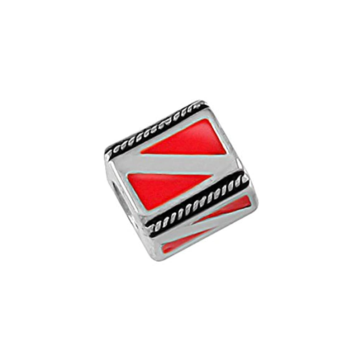 Dive Flag - Handmade Sterling Silver Large Hole Charm Bead