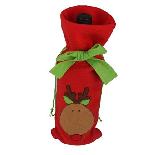 Vino De La Navidad Botella Cubierta con Decoración De Lazo Bonito Exquisito Vino Tinto Bolsa para Ambiente Casa Kitchen Party De La Navidad (Pista De Los Ciervos)