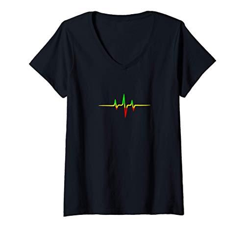 Damen Reggae Puls Musik Fahne Farben Rasta Wurzeln Herzschlag T-Shirt mit V-Ausschnitt