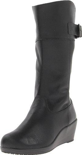 Hot Sale crocs Women's 14783 A-Leigh Leather BT W Boot,Black/Black,6 M US