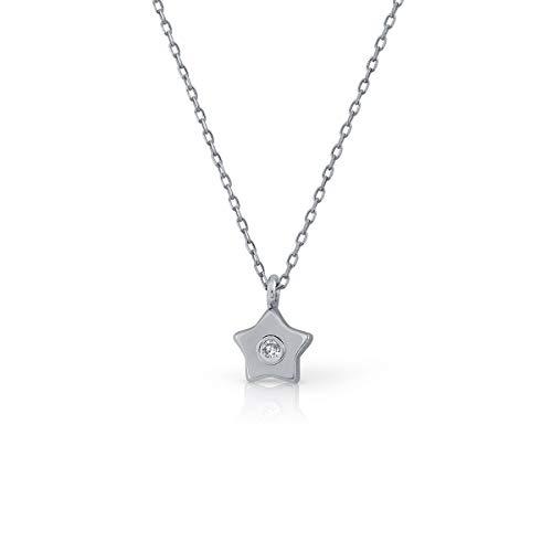 Girocollo Collana Oro Sterling Ragazza/Donna Diamante 0.015 kt Misura Catena 40-45 cm Misura Centrale 4 mm (1-6357)