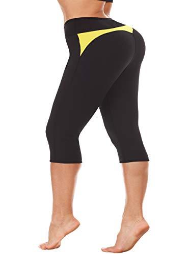TINGSU Mujer Termo Caliente Pantalones Capri Adelgazantes Neopreno Escultor de Cuerpo Quemador de Grasa del Muslo Traje de Sauna de Entrenamiento Pérdida de Peso Negro