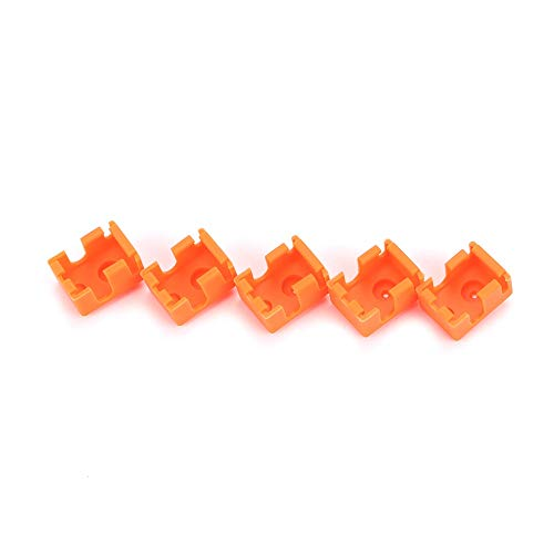 HUANRUOBAIHUO 5pcs Updating PT100 Block Silicone Sock Kit Orange For DIY V6 Hotend Prusa i3 MK3 Ultimaker 3D Printer Heated Block 3D Printer Parts