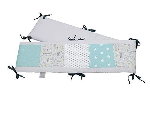 Protector para parque de ULLENBOOM ® con safari menta (protección de 200x30 cm para parque infantil; chichonera para parques de juego de 100x100 cm; zona de la cabeza)