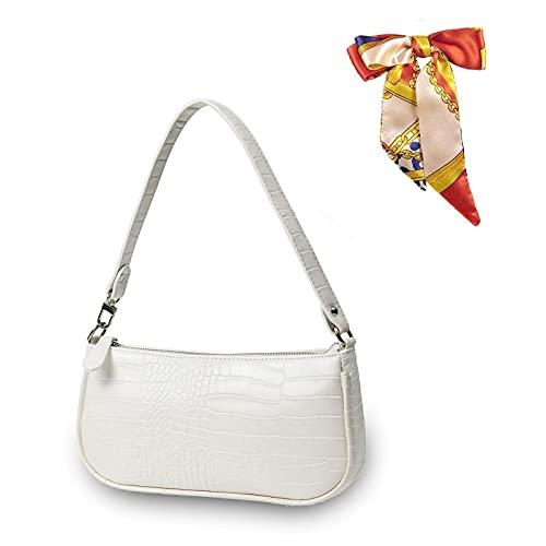 Retro Umhängetasche Bag,90s Umhängetasche Damen mit schickem Krokoprägung-Druck Crossbody Tasche,Damen Schultertasche,Frau Vintage Shoulder Crossbody Handtasche (Weiß)