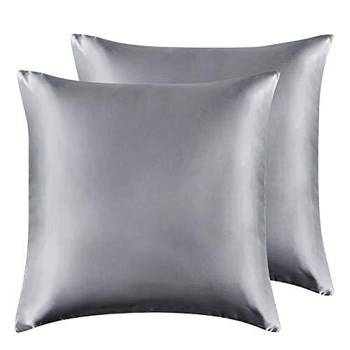 Hansleep Funda Almohada 65x65 cm de Satén Gris Oscuro, 2 Fundas Almohadas Cuadradas para Pelo Rizado - Juego de Protector Almohada Sedoso Liso Suave con Cremallera