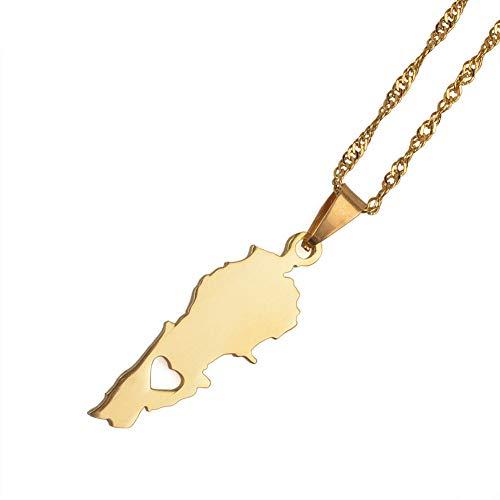 Collar De Mapa,Ein Weltkarte Halskette,Map Necklace,Fashion Heart Lebanon Map Golden Metal Pendant Necklace Bohemian Bling Unique Ethnic Charm 60Cm Chain Jewelry For Women Man Travel Commemorate GIF