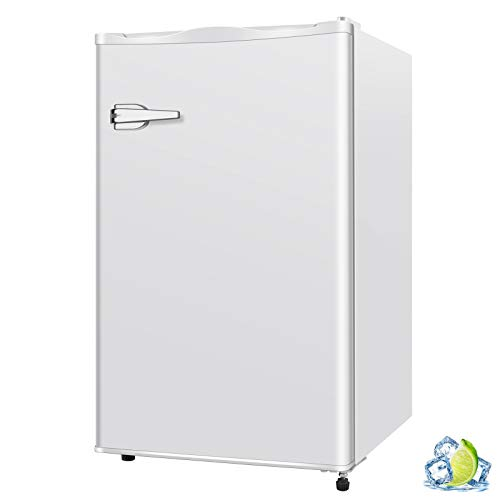R.W.FLAME Mini Upright Compact Freezer 1.2/2.3/3.0 Cu.ft, Free Standing Freezer with Single Door and Shelves, Adjustable temperature and Leveling legs for Home, Office, Dormitory, Apartment (White)
