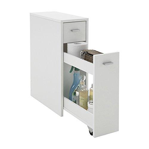 FMD furniture 930-001E - Mueble Auxiliar para baño (20 x 61 x 45 cm, Tablero aglomerado Recubierto de Resina de melamina), Color Blanco