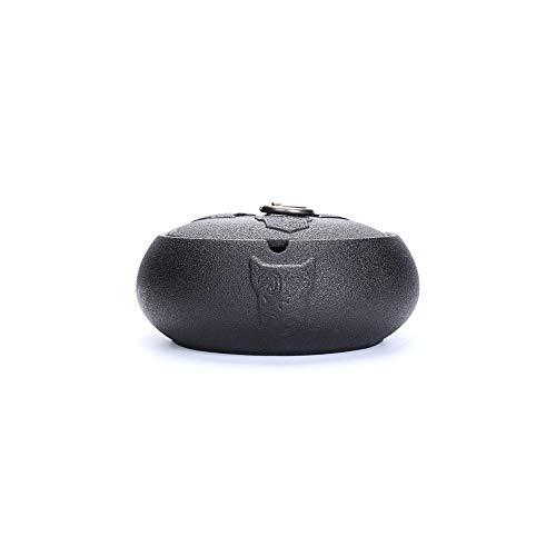 LHTCZZB Extintor de Cenizas Anti-Mosca con Ceniza de cenicero Material de cerámica Lavable portátil Adecuado para Oficina de Almacenamiento de Escritorio Oficina y decoración del hogar (Negro)
