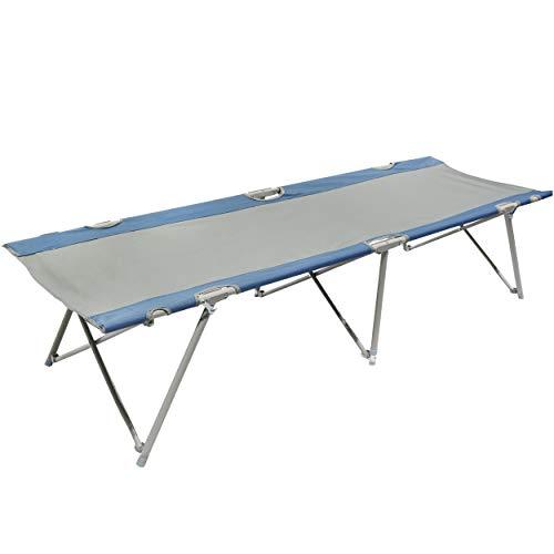 Homecall - Cama de camping plegable (gris/azul)
