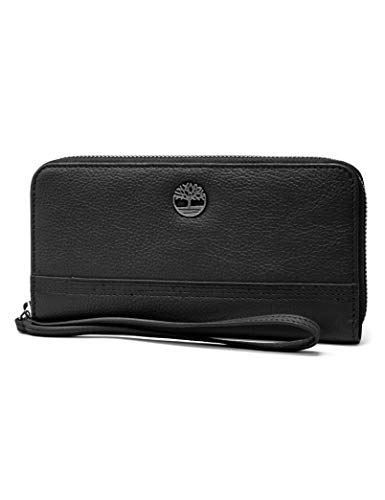 Timberland Womens Leather RFID Zip Around Wallet Clutch with Wristlet Strap black (pebble), One Size