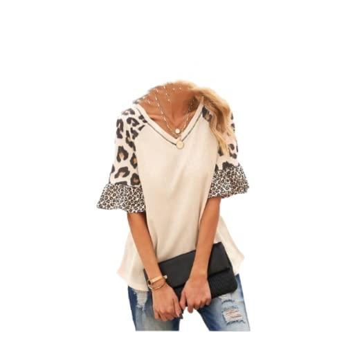 Camiseta con Cuello en V para Mujer, Camiseta a la Moda, Costura, Tendencia, Personalidad, impresión, Informal, cómoda, Camiseta de Manga de Cinco Puntos S