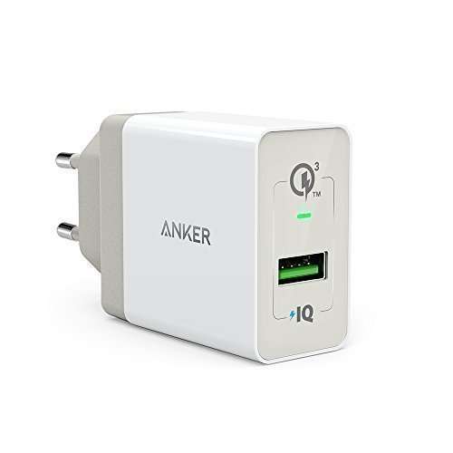 Anker PowerPort+ 1 Quick Charge 3.0 18 W USB caricatore da parete con Power IQ per Galaxy S7/S6/Edge/Plus, Note 5/4, LG G4, HTC One A9/M9, Nexus 6, iPhone 7 6 5, iPad e altri single bianco