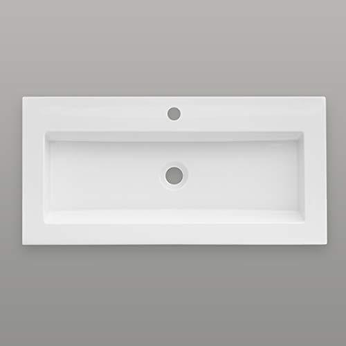 Aquabad® Purista Waschtisch/Waschbecken | Weiß 80x39x10cm eckig | Design Einbauwaschtisch für Badezimmer aus Sanitär-Acryl