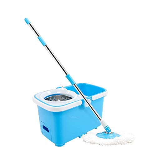 IVQAPP Spinning and Bucket Cleaning Set with Drawer One-Button Drainage with Roller Wheel Household Blue Head *2 Blue a