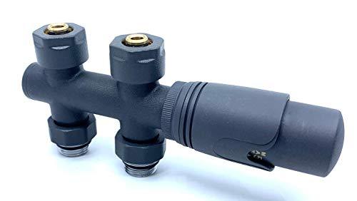 KAMAN Smart Equipments Thermostat Thermostatventil Mittelanschluss Multiblock Set (Farbe/Form) wählbar-Premium-Qualität mit Geld-zurück-Garantie - (Multiblock: Durchgang anthrazit)