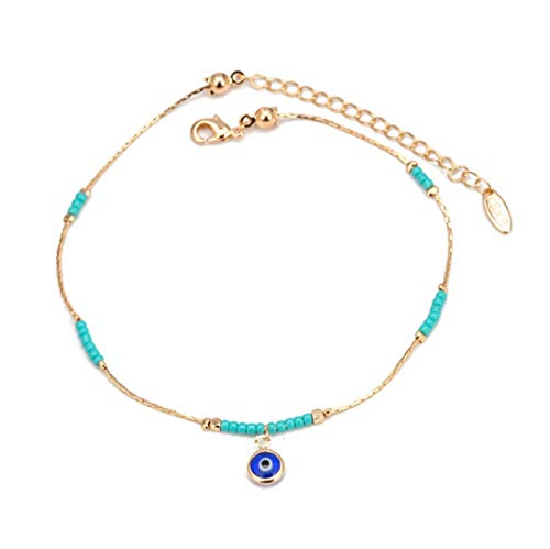 Vvff Bead Anklet Gold Silver Color Foot Chain Ankle Bracelet Adjustable Jewelry For Women