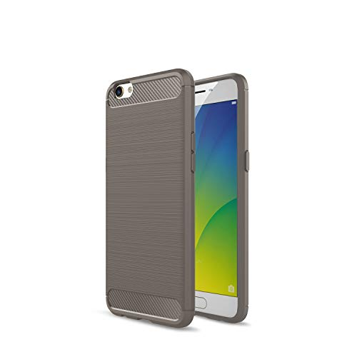 Kompatibel mit Oppo R9s R9s Plus/F3 Plus Hülle Carbon Fiber Textur Tasche Schutzhülle Ultra Dünn Slim Silikon Soft Flexibel TPU Cover Cases Stoßdämpfung Handyhülle (R9s Plus/F3 Plus, Grau)