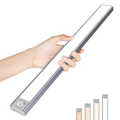 OUSFOT Réglette Led Détecteur de Mouvement 164 LED Lampe de Placard USB Rechargeable Lampe Led sans Fil 4 couleurs Lampe Armoire Adhésif Luminosité Réglable pour Cuisine, Chambre, Escalier