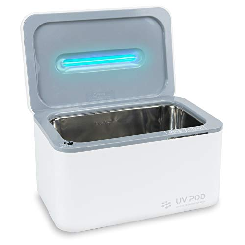 Ultrasonic Cleaner & UV Light Sanitizer, Professional Jewelry Cleaner for Rings, Watches, Earrings, Baby Pacifier, Eyeglasses, Dentures (White)