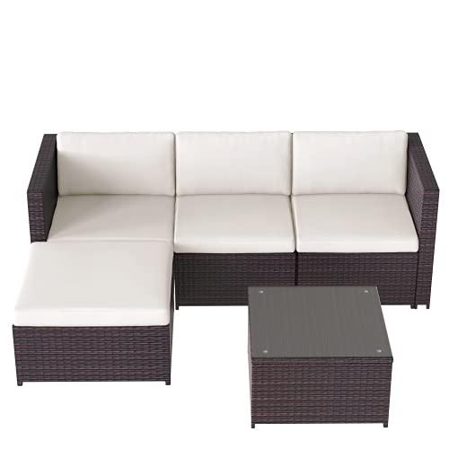 Boomersun Conjunto de sofá esquinero con cojín de asiento y respaldo, mesa con tablero de cristal, color marrón
