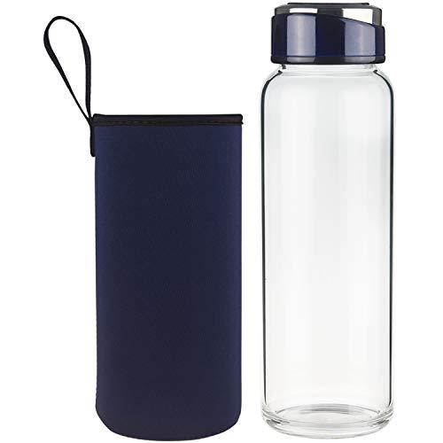 SHBRIFA Botella de Agua de Vidrio de Borosilicato 1000ml / 1500ml, Botella de Agua de Cristal con Funda de Neopreno y Tapa de Acero Inoxidable a Prueba de Fugas(1000ml Azul Real)