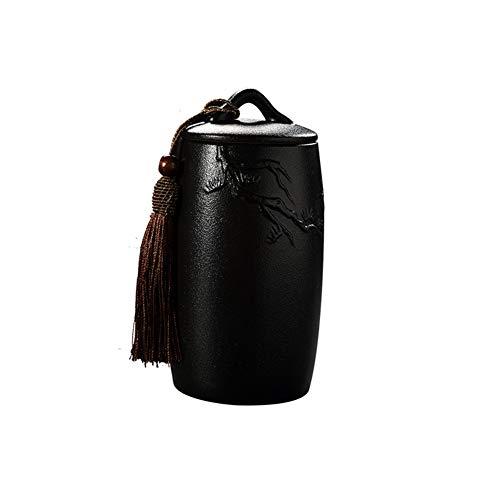 Urne della Cremazione Cenere Urne Sepoltura Ceramica Animali Casa Graves Memoriale Adulto Bambini Forno Crematorio 16.5 * 7,3cm (Color : Black)