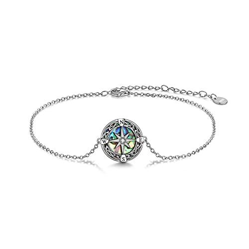 Compass Bracelet Sterling Silver Celtic Knot Abalone Shell Bracelet Graduation Friendship Talisman Travel Bracelet Inspirational Graduation Jewelry Gifts for Women