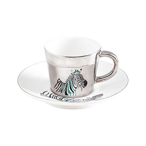 Kaffeetasse, kreativer Leopardenmuster, anamorpher Becher, spiegelnde Tasse, Zebra-Tasse, Kaffee-Teeset mit Untersetzer, geeignet zum Trinken von Kaffee und Tee, Silber, 90 ml