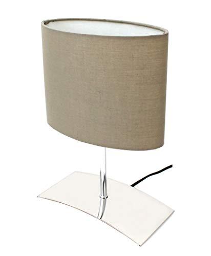 Trango diseño Lámpara de mesa I lámpara de noche I lámpara de escritorio I lámpara TG2018-04B'Brownie' con pantalla de tela marrón, ideal para bombillas LED E14