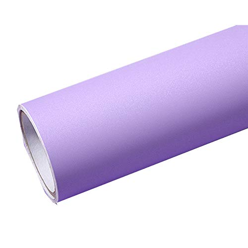 Solid Color Matte Textured Vinyl Peel and Stick Wallpaper Adhesive Paper Self-Adhesive Wallpaper Shelf Liner Home Decorative Paper,15.8inch by 79inch (Purple)