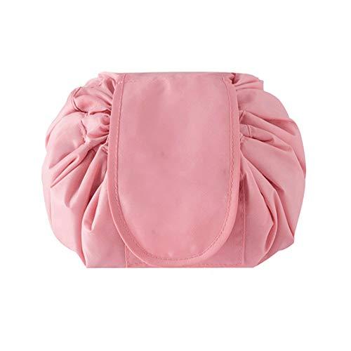 Mooie make-up toilettas, grote capaciteit, trekkoord, draagbare reis, casual, waterdicht, snelverpakking, perfect voor vrouwen en meisjes. roze