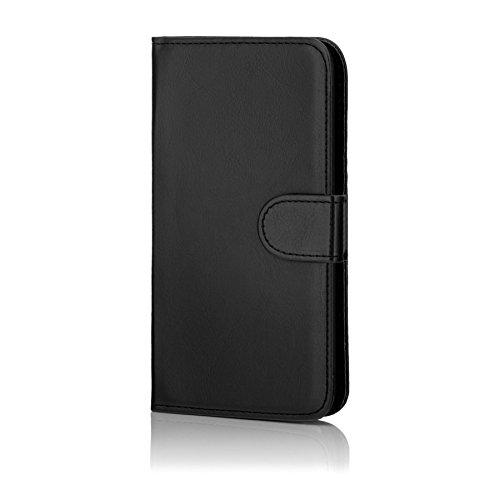 32nd® Funda Flip Carcasa de Piel Tipo Billetera para Samsung Galaxy S7 Edge (SM-G935) con Tapa y Cierre Magnético y Tarjetero - Negro