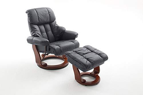 lifestyle4living Relaxsessel in Schwarz, Echtleder, Gestell 360° drehbar Walnuss Braun inkl. gepolstertem Hocker | Perfekter Sessel mit Relaxfunktion