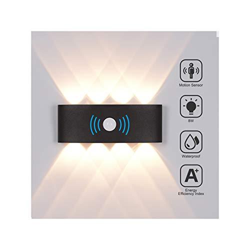 8W LED Wandleuchte mit Bewegungsmelder Aussen Wasserdichte IP65 Wandbeleuchtung Modern Up Down Aussenleuchte Aluminium Außenwandleuchten Wandlampe Innen/Aussen Warmweiß -Schwarz
