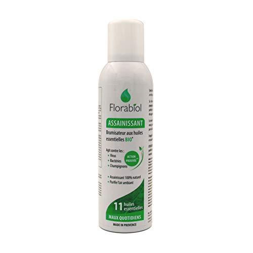 Florabiol - Spray Assainissant Anti-Odeurs aux 11 Huiles Essentielles - Efficace contre les Virus, les Bactéries et les Champignons - Citron, Pamplemousse, Orange - Sans gaz propulseur - 150 ml
