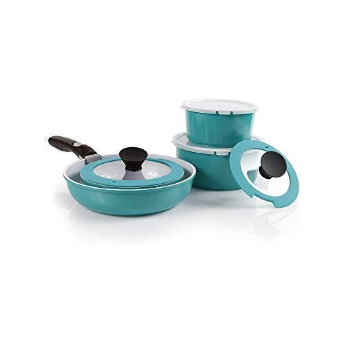 Neoflam 9pc Nonstick Ceramic Cookware Set, Space-Saving Design, Emerald Green Midas PLUS, Handle, Oven Safe