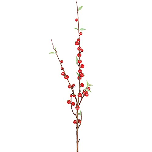 BFYDOAA 3Pcs Artificial Berry Branch,Artificial Red Berry Stems Fake Blueberry Plastic Flowers for Home Wedding Decoration