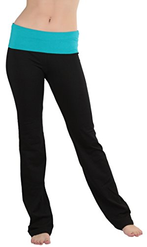 ToBeInStyle Women's Fold-Over Waistband Semi-Flare Yoga Pants - Soft Teal - M