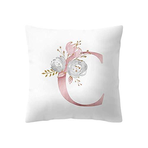 phjyjyeu Fundas de almohada, fundas de almohada decorativas con estampado de flores (45 x 45 cm, letra C) 16 x 16 pulgadas