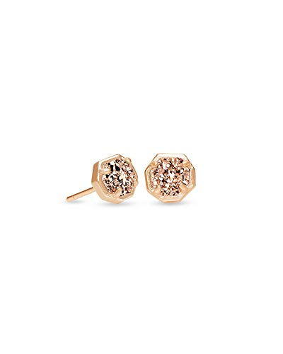 Kendra Scott Nola Stud Earrings for Women, Fashion Jewelry, Rose Gold-Plated, Rose Gold-Plated Drusy