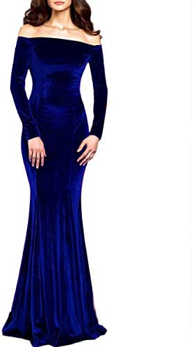 TTYbridal Off The Shoulder Velvet Mermaid Evening Gown Long Prom Party Dresses with Two Sleeves product image