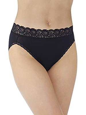 Vanity Fair Women's Flattering Lace Panties with Stretch, Hi Cut - Nylon - Black, 6