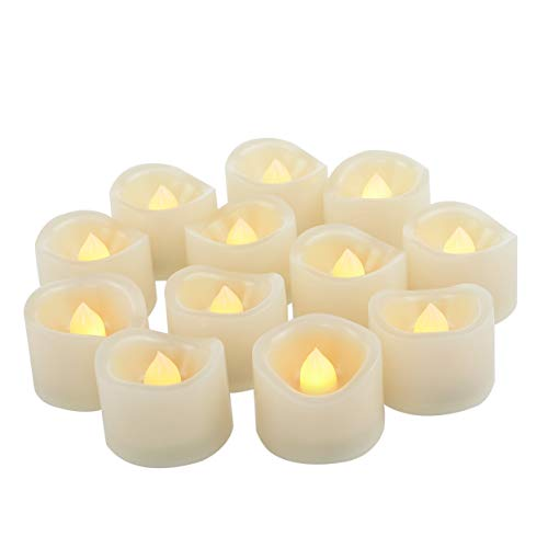 12 PCS LED Flameless Flickering Tea Lights Votive Candle Battery Operated / Electric Flicker LED Tealight Bulk Fake Candles for Halloween Christmas Wedding Party Decorations etc.(Warm White)