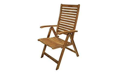 Ploss Klappsessel Berlino und hochwertiger Multipositionssessel in Natur, Klapp-Stuhl A-Grade Teak-Holz, stilvoller und hochwertiger Campingstuhl, 5-Fach verstellbar, ergonomisch
