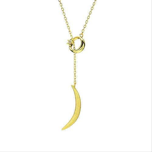 CKAWM Halskette Schmuck Star Moon Vintage Halskette Frauen Silber Verstellbare Lassa Artikel Verzierte Gebogene Mond Halskette