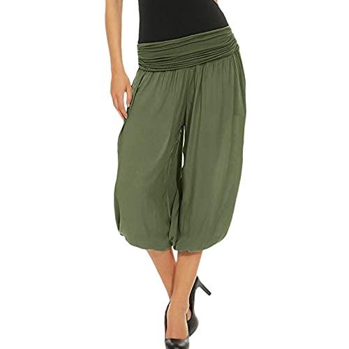 NAQUSHA Pantalones plisados para mujer, talla grande, informales, talla grande, monocolor, con cordón cosido, pantalones anchos, ropa de verano, pantalones deportivos Verde militar. XXXXXL